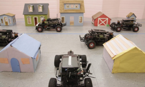 Small vehicles on a prop set